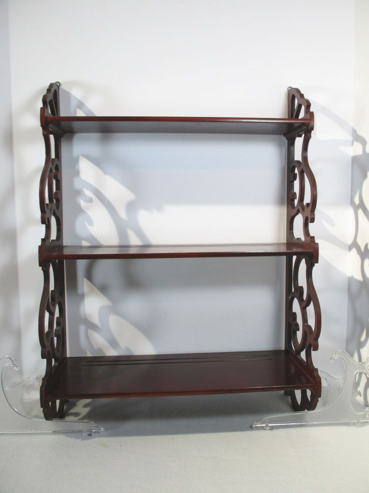 Wall Shelf Victorian Cottage 3 Tier Wood Hand Made Scroll Sides Plate Rails #Handmade #CottageorVictorian & Wall Shelf Victorian Cottage 3 Tier Wood Hand Made Scroll Sides ...