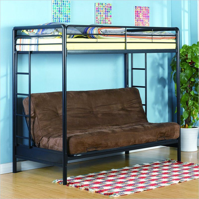 Twin over Convertible Futon Sofa Bunk Bed in Black