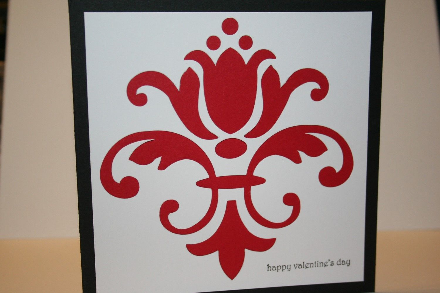 Valentine Card - Vintage Damask (red can be changed to accommodate ...