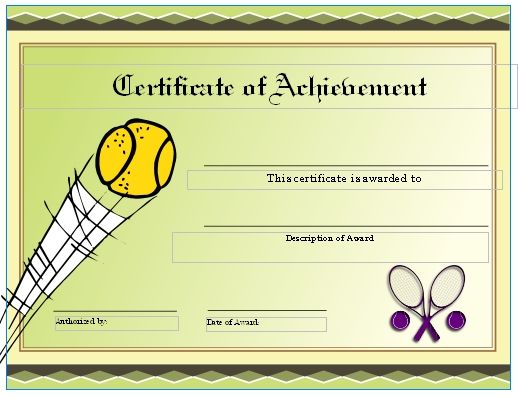 Free Tennis Certificates On Womens Tennis World Gift Certificate Template Certificate Templates Template Free