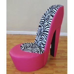 pink high heel chair vintage arm zebra stiletto shoe animal print