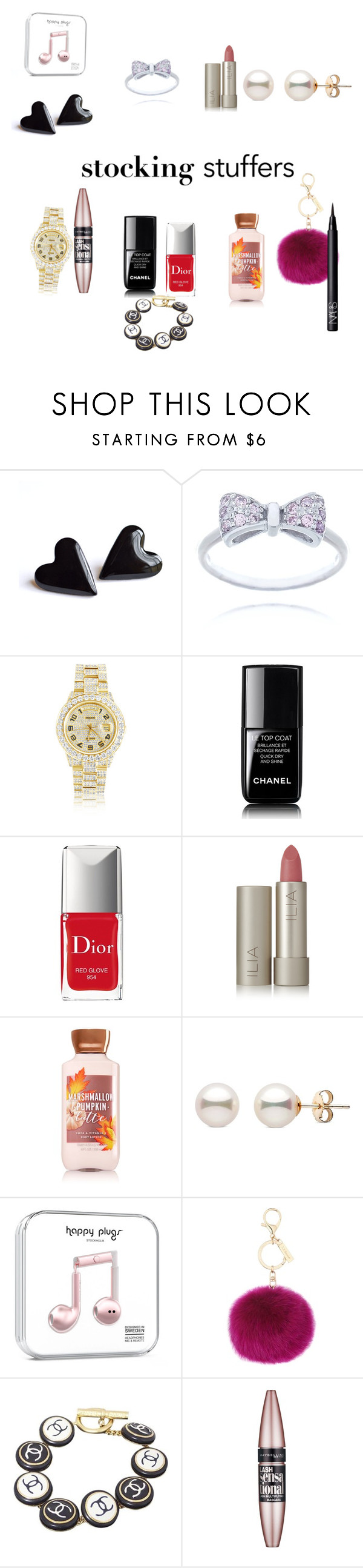 """Cute stocking stuffers"" by lexia-1 ❤ liked on Polyvore featuring Rolex, Christian Dior, Ilia, L.K.Bennett, Chanel, Maybelline and NARS Cosmetics"
