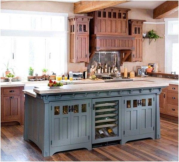 blue kitchen island - Kitchen Island Cabinet Ideas