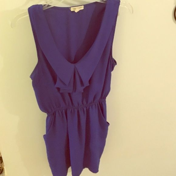 Silence + Noise Blue Dress Cobalt blue! V neck, with pockets. Fitted band at waist. Wore to wedding and never wore again! silence + noise Dresses Mini