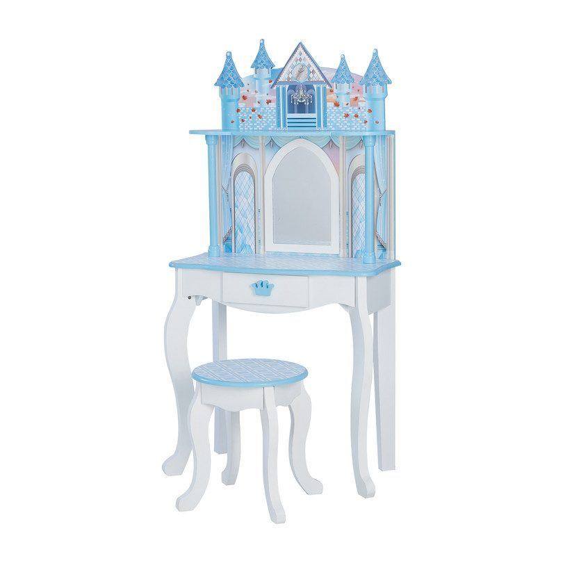 Dreamland Castle Play Vanity Set, White/Ice Blue - Play Kids Dollhouses & Accessories - Maisonette