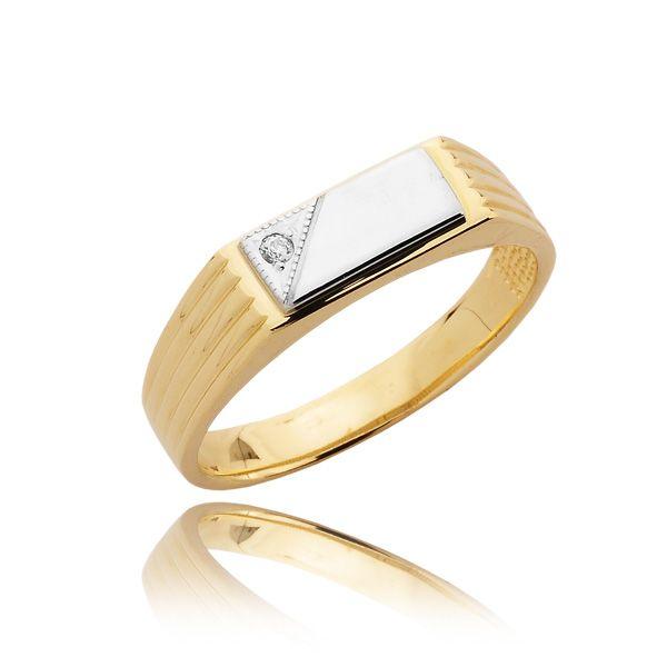 MENS V CUT CORNER TRADITIONAL STYLE DIAMOND RING 0 03 CT This