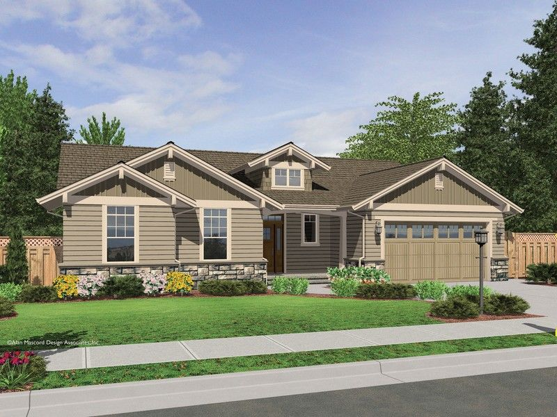 The Avondale Craftsman Style Ranch House Plan With Stone Accents Craftsman Style House Plans Ranch House Exterior Craftsman Style Homes