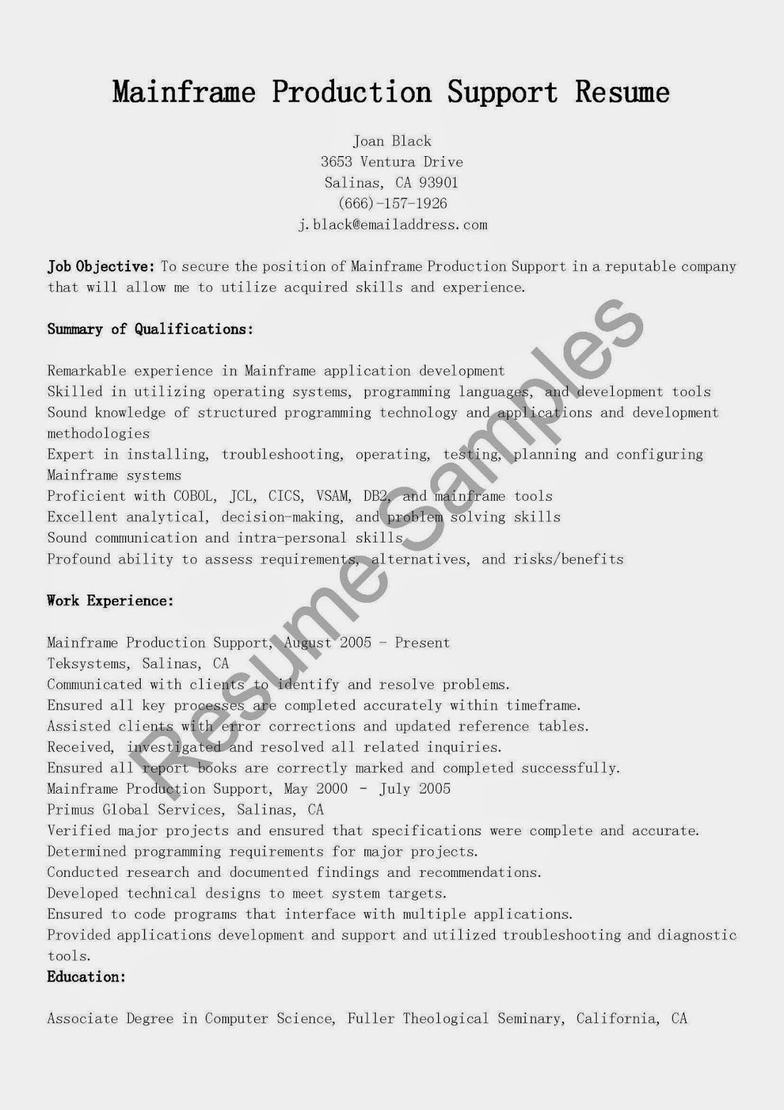production support resume examples