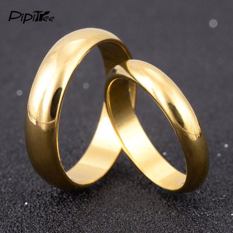 Gold Wedding Rings Men Women Simple Engagement Ring Couple Lovers ...