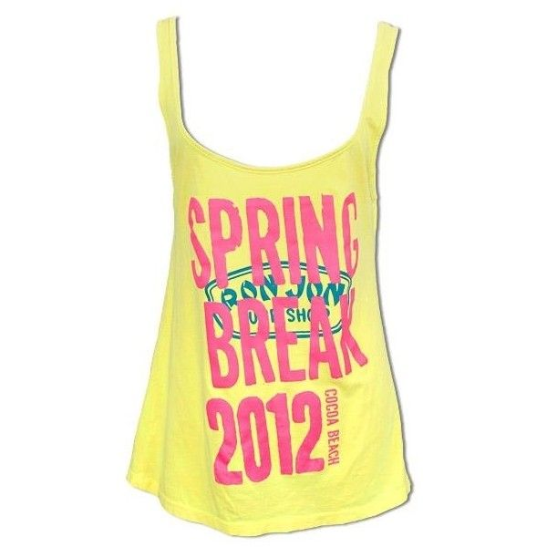 Ron Jon Raise the Roof Spring Break 2012 Tank Cocoa Beach ❤ liked on Polyvore featuring tops, shirts, tank tops, blusas, tanks, yellow tank top, beach tank tops, screen print shirts, beach tops and yellow tank