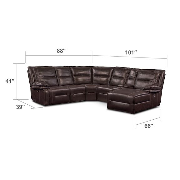 Living Room Furniture   Nikki 6 Piece Power Reclining Sectional With 2  Recliners And Right