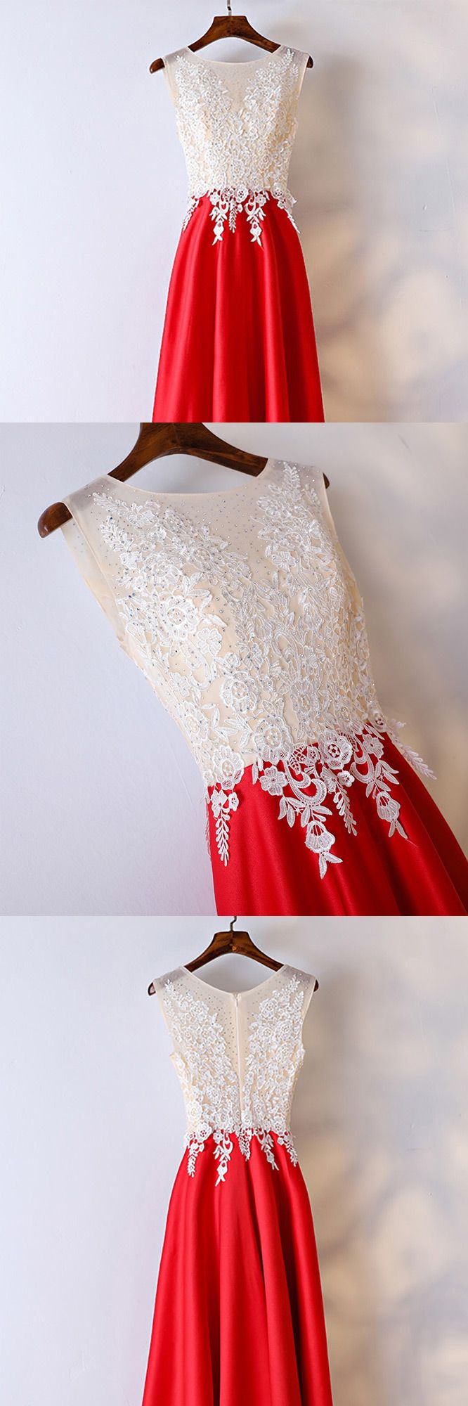 White and red lace long formal dress for women myx gemgrace