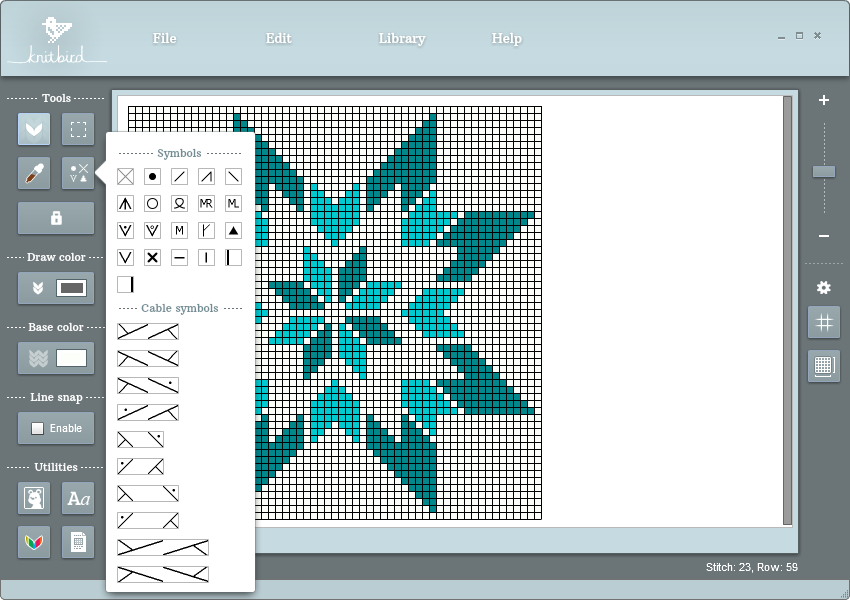 Knitbird Charting Software With Standard Symbols And Ability To Label A Symbol With Nonstandard Instructions Knitting Charts Knitting Tools Machine Knitting