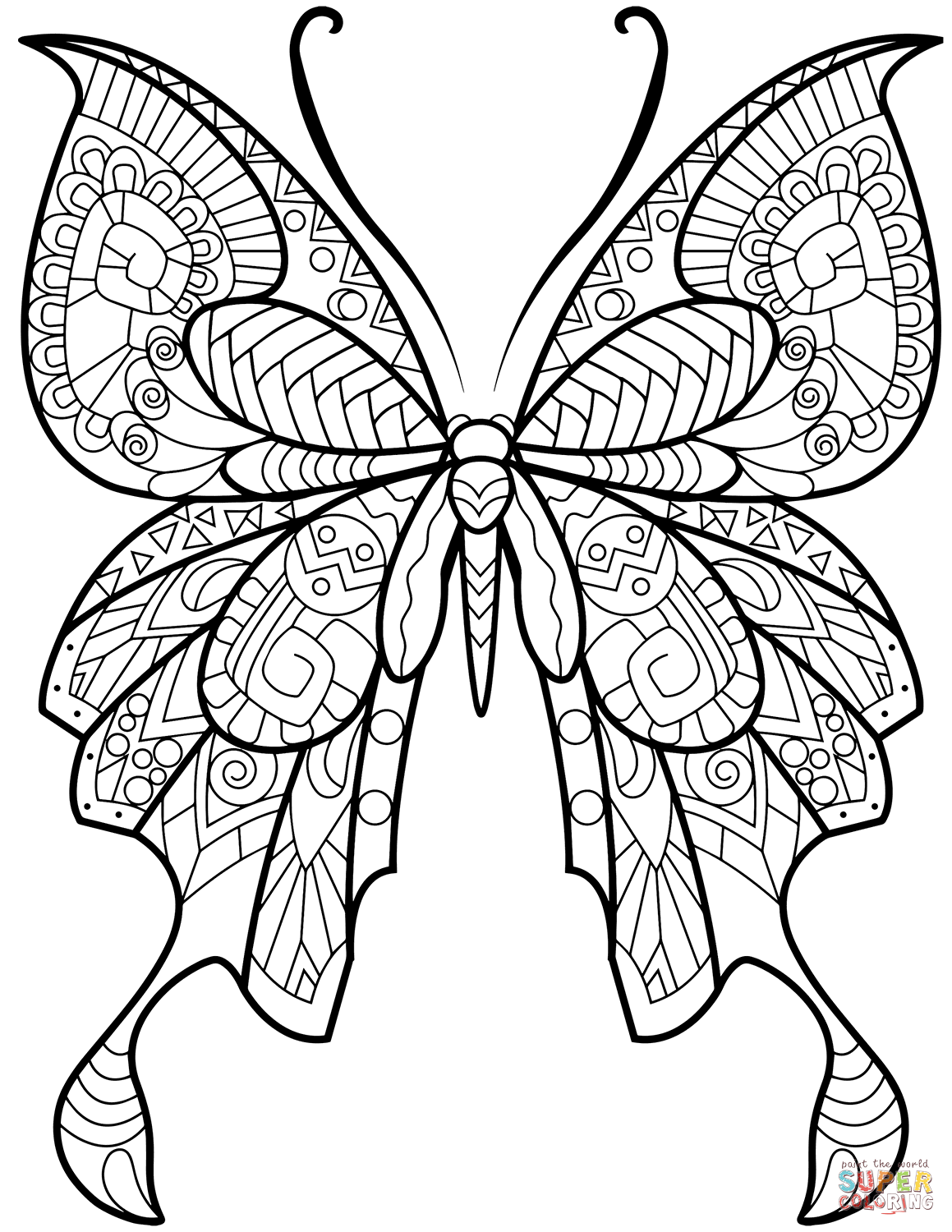Zentangle Butterfly Super Coloring Zeichnen Pinterest