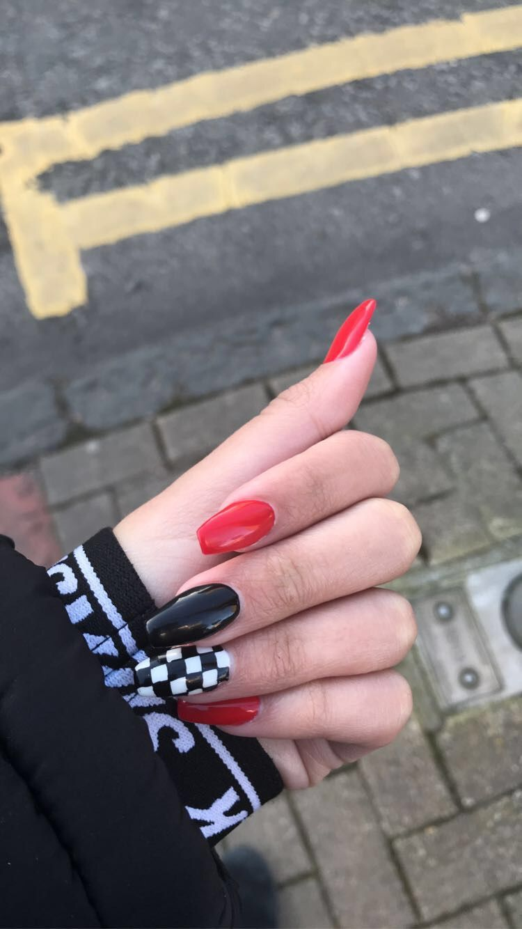 Checkerboard Nails In 2020 Black Acrylic Nails Checkered Nails Red And White Nails