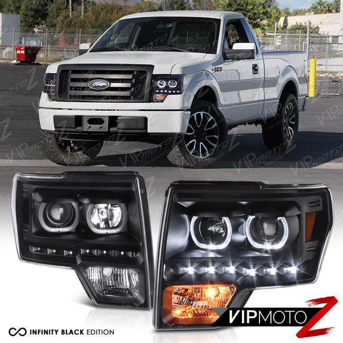 2009 2014 Ford F150 Lobo Black H7 Projector Halo Led Drl Headlights Headlamps 2014 Ford F150 Ford F150 F150