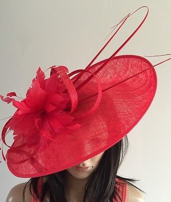 820d6848 NIGEL RAYMENT RED WEDDING ASCOT DISC FASCINATOR HAT MOTHER OF THE BRIDE