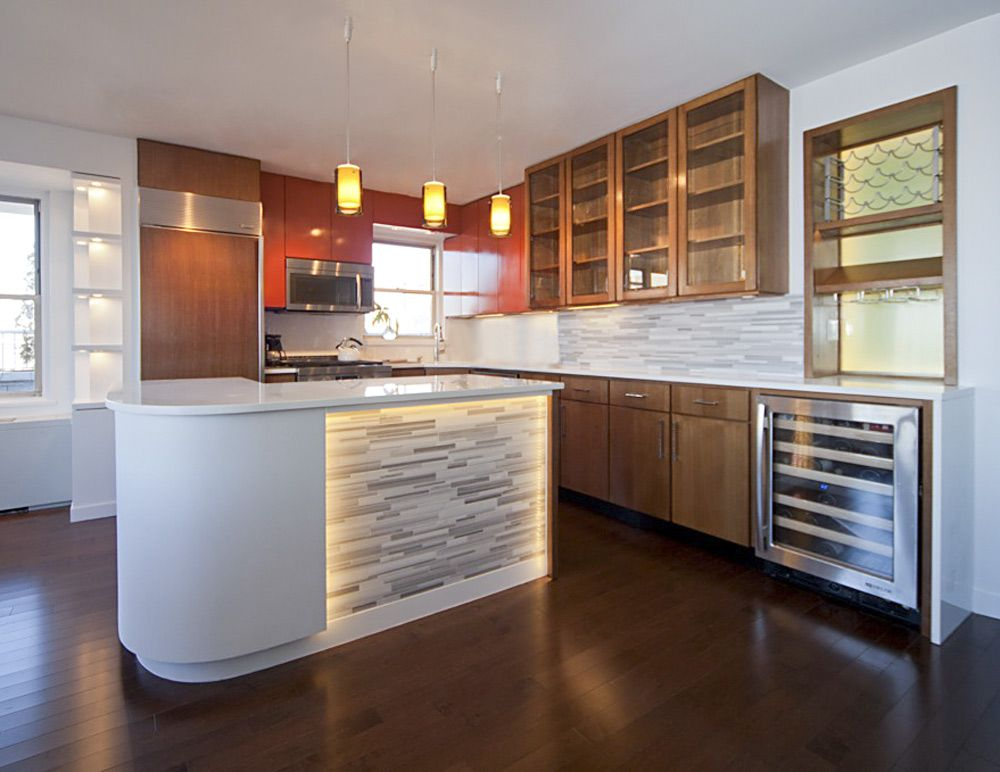 West Village Nyc Residence Kitchen Backsplash And Island Face