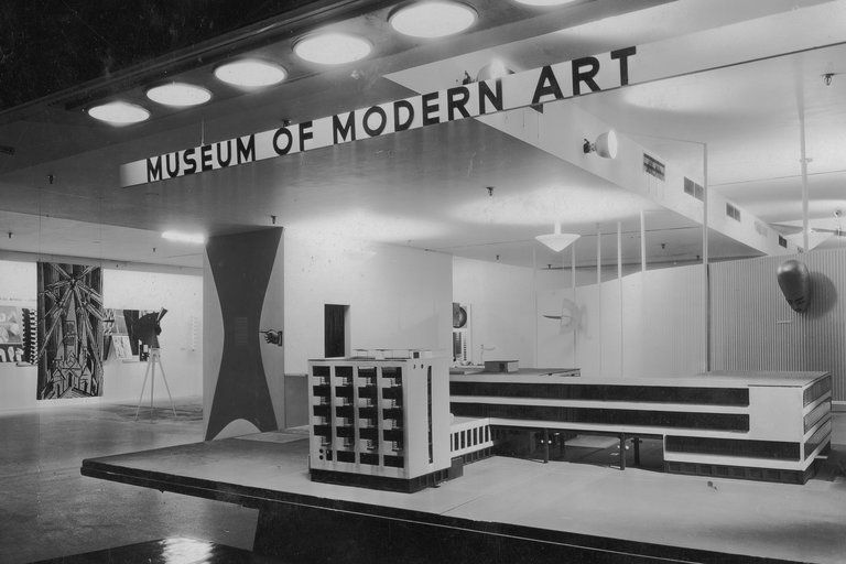 "A view of the exhibition ""Bauhaus: 1919-1928,"" which was on view from Dec. 7, 1938, through Jan. 30, 1939."