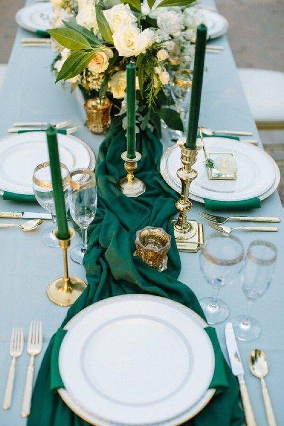Grüne rustikale Hochzeitsdekoration Grüne Hochzeitsdekoration Gaze Tischläufer Boho Herzstück Läufer Petrol / Hochzeit, Smaragd Hochzeitszeremonie   – Products