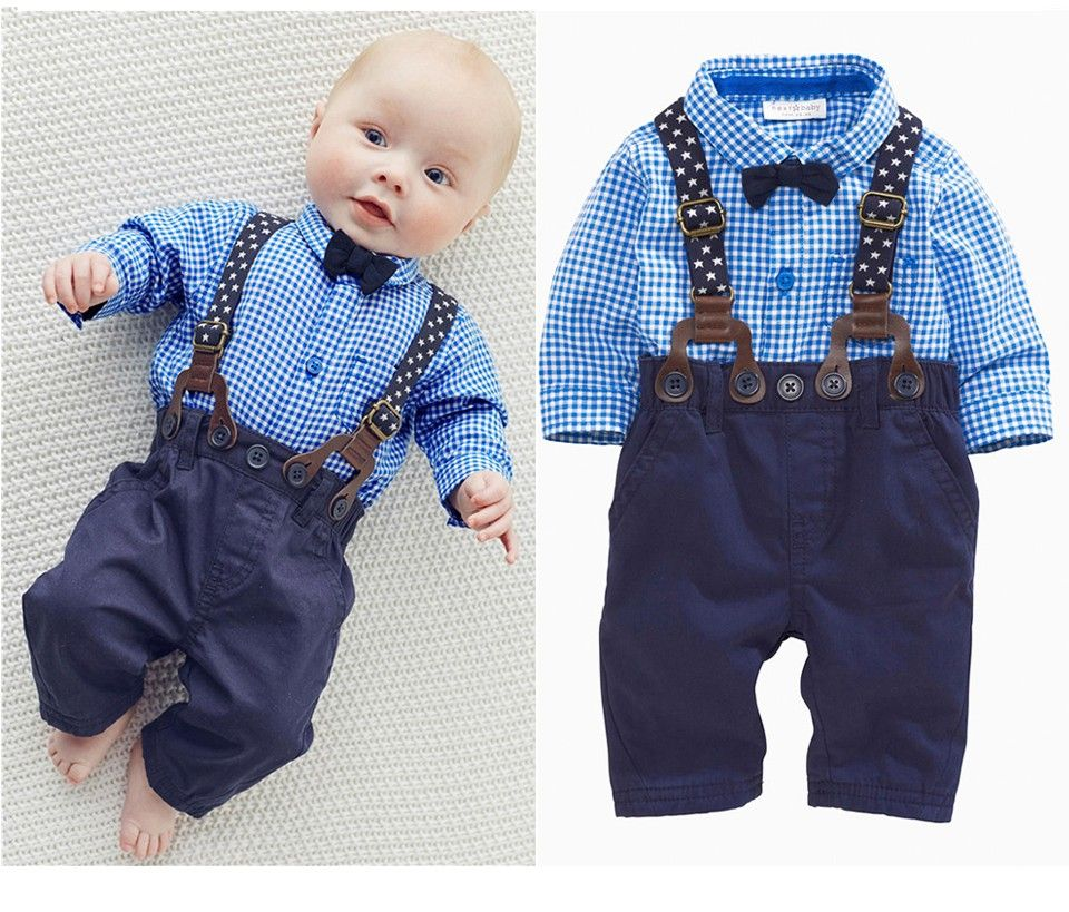 6735368438ad Gentleman Plaid Clothing Suit For Baby Boy
