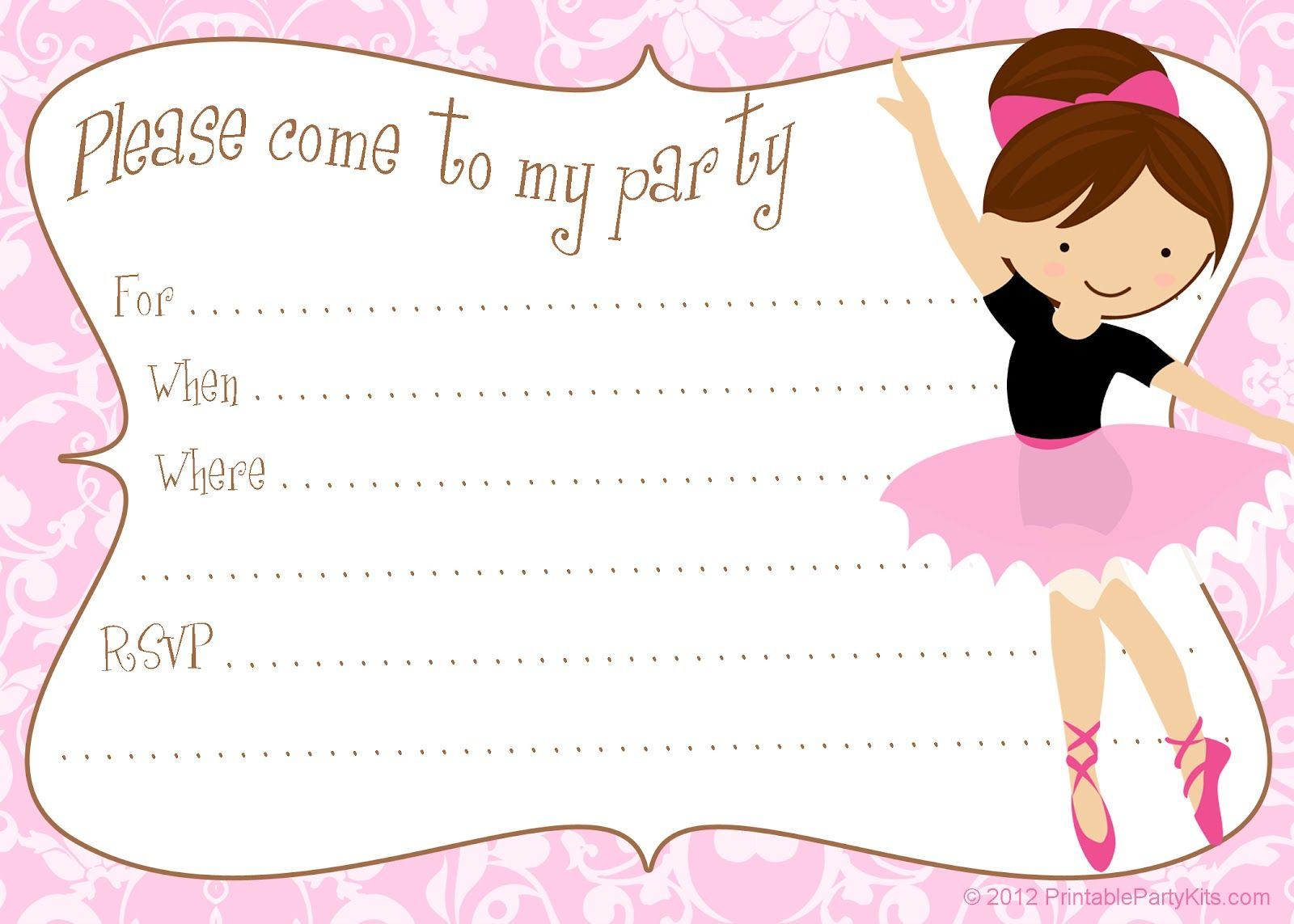 Printable free DIY ballerina party invitations Party Printables