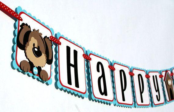 Puppy Birthday Banner  Puppy Happy Birthday Banner  Puppy