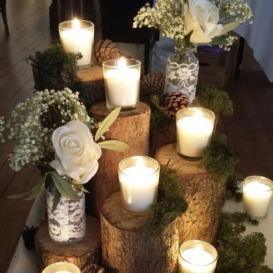 Rustic Wedding Decorations Hire: Our Multi-log Centrepieces With Moss, Fir Cones, Tea