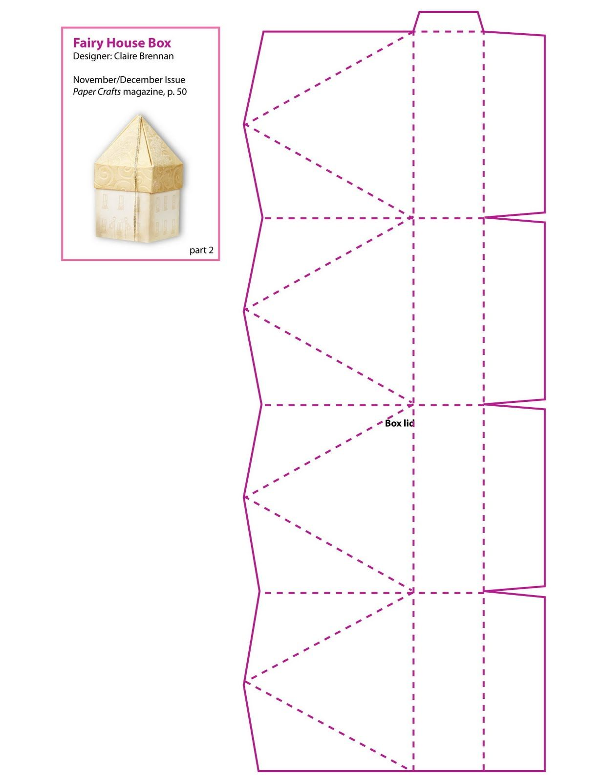 Fairy House Box Pattern Part 2 - smaller house. ☀CQ #printables #digitals #templates #crafts #how-to #DIY