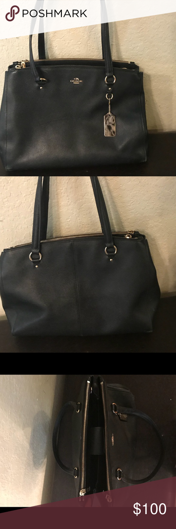 Coach Bag Coach bag in good shape. Black. Dimensions 14 in wide 6 in deep 10  in y all. Strap is 10in from top of purse Coach Bags Shoulder Bags 589c64a1934a1