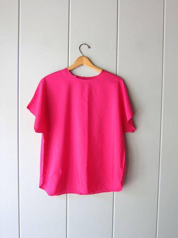 658a04ba5d382 Vintage 80s Magenta Pink Poly Top Minimal Tee Blouse Boxy Cap ...