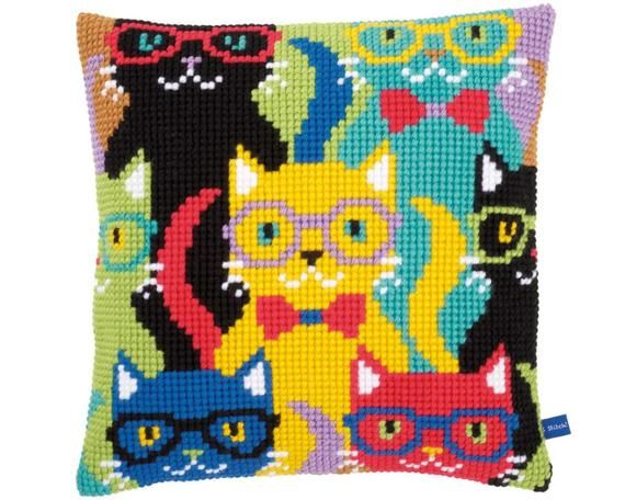 "DIY Needlepoint Pillow Kit Vervaco ""CATS"", Cross Stitch Cushion kit, Embroidery kit 16""x16"" (40x40 c"