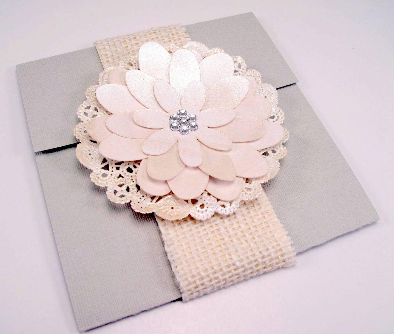 Elegant Handmade Flower Wedding Invitation Vintage Shabby