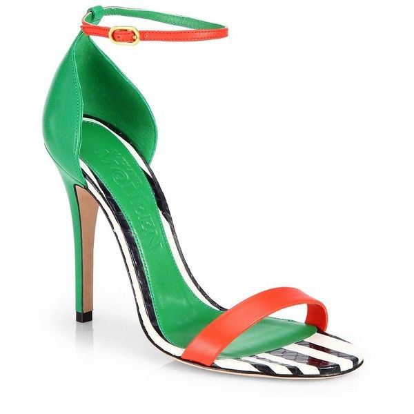 Alexander McQueen Colorblock Leather Ankle-Strap Sandals