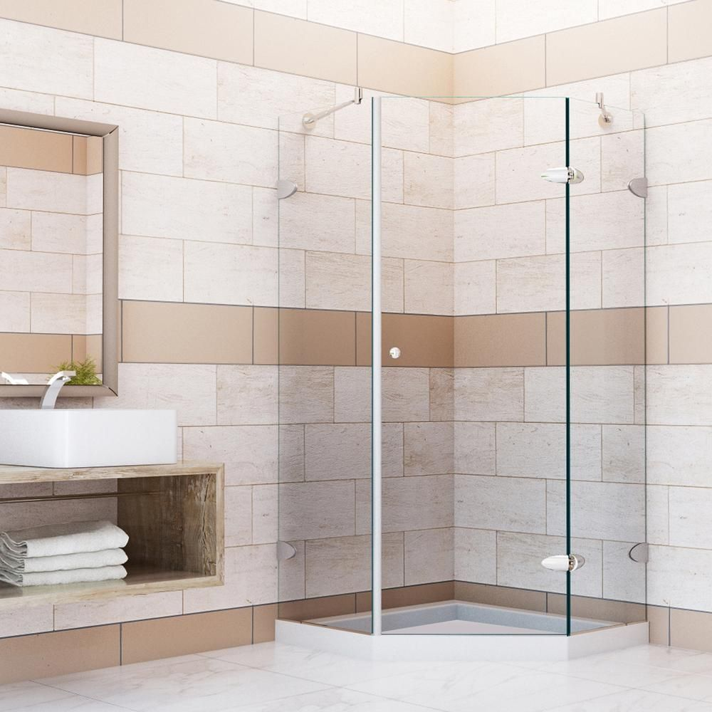 Vigo Verona 40.25 in. x 76.75 in. Frameless Neo-Angle Shower Door in ...