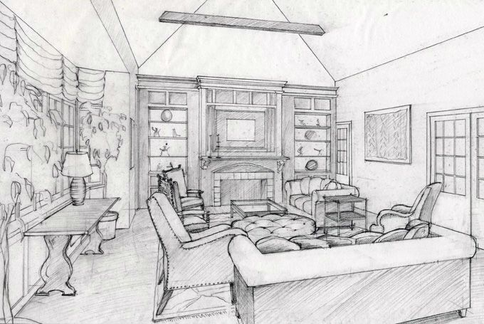 Glass Box Apartment Interior Design Sketches Drawing Interior