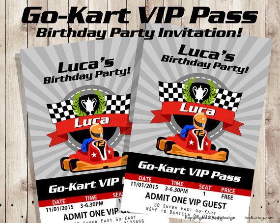 Go kart vip pass birthday party invitation vip pass invitation go kart vip pass birthday party invitation vip pass invitation printable digital file stopboris Choice Image
