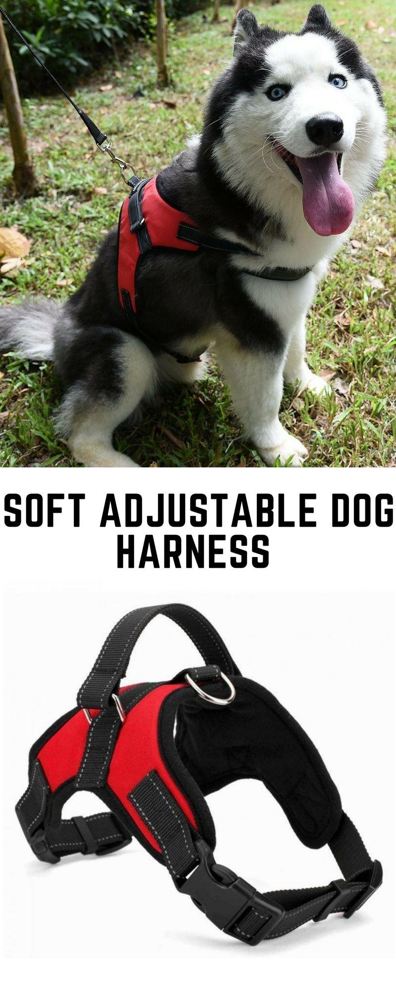 Soft Adjustable Dog Harness w/ Handle Dog harness, Funny