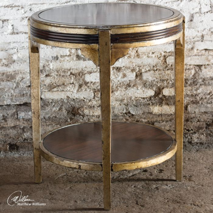 Uttermost Tasi Accent Table. Dark Mahogany Veneer And Solids With Champagne  Silver Leaf Accents.