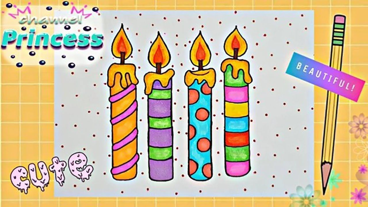 Draw Cute And Colorful Candle رسم أربع شمعات كيوت بألوان الصيف Thumbs Up