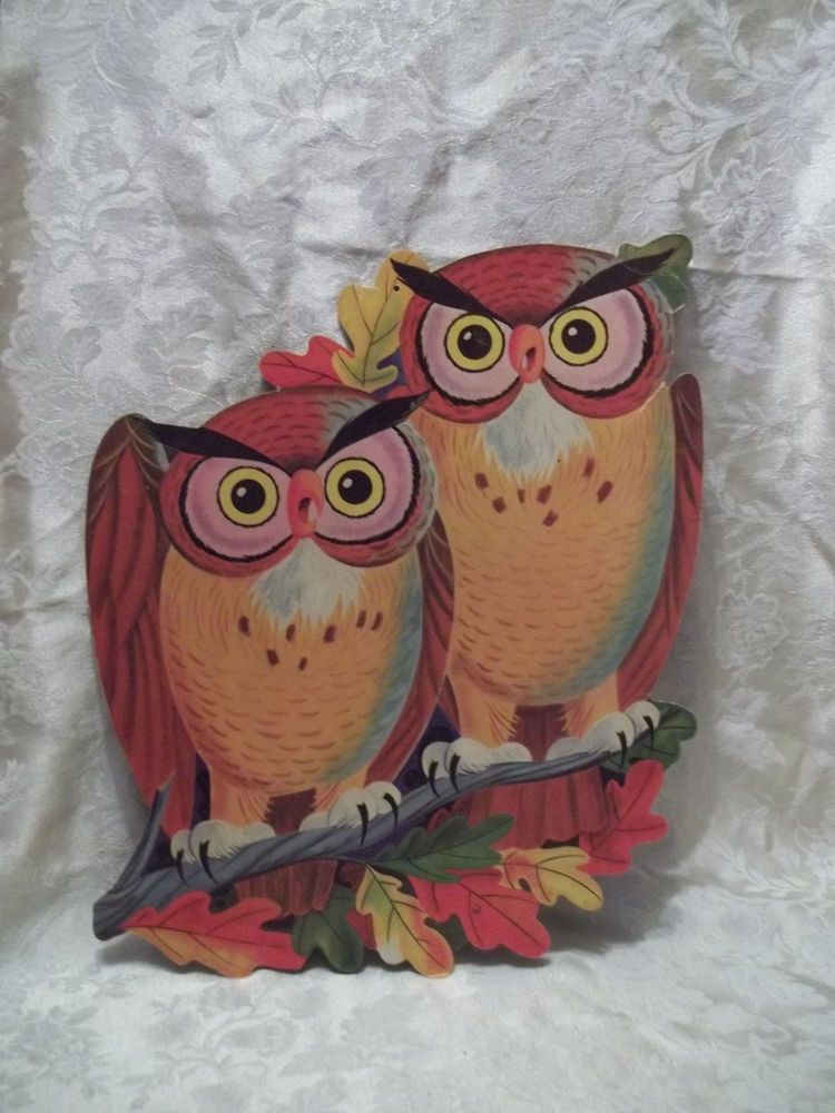 Vintage owl couple large Halloween decoration 16\ - large halloween decorations