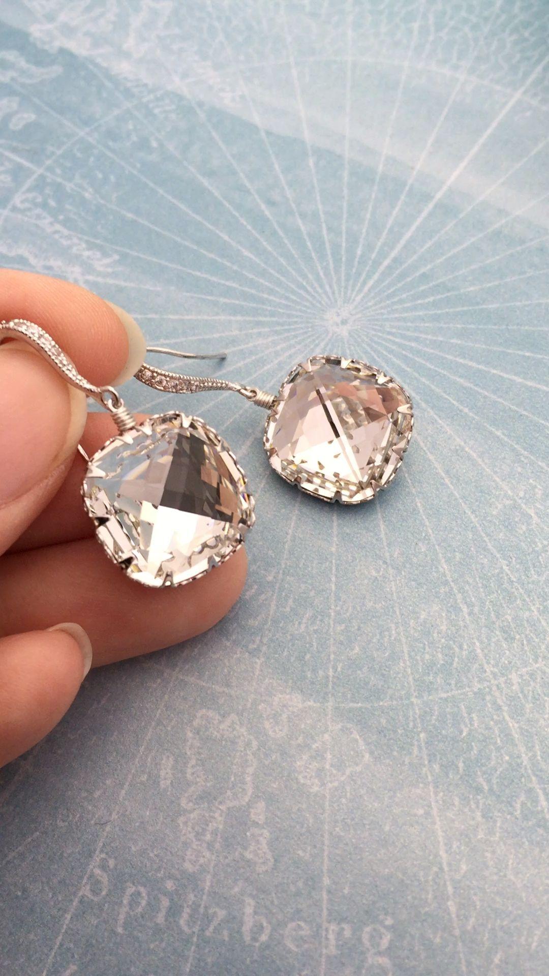 793ef6f05 Handmade Swarovski crystal earrings from EarringsNation bridal earrings  cushion cut earrings elegant earrings statement earrings