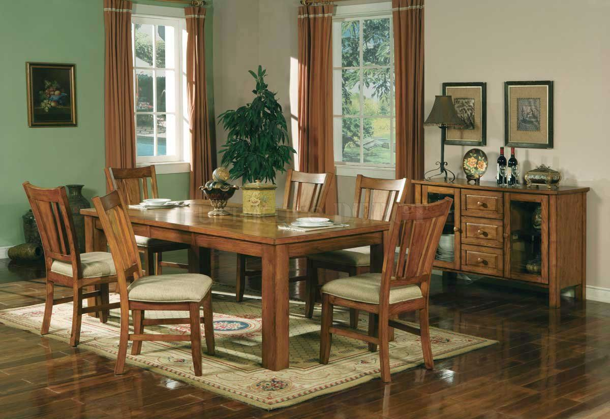 Light Oak Finish Casual Dining Room Table W Optional ...