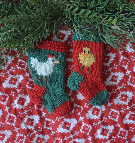 Chicken & Baby Chick Hand-Knit Christmas Stocking Ornament set by HandmadeMaryEllen