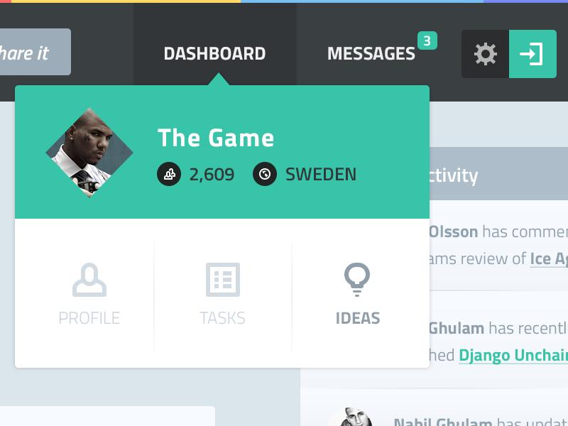 섬네일 클릭시 드롭다운 메뉴 Dashboard Dropdown