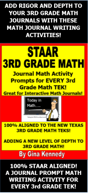 3rd Grade Staar Math Journals Prompts And Activities For All Teks
