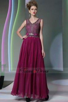 Elegant Mother of the brides or Groom Dresses__ Floor Length Chiffon+Woven Dark Red V-neck Dresses