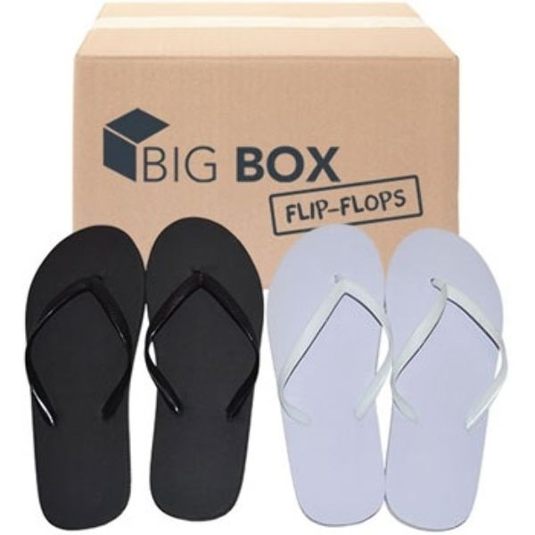 Big Box Women s Basic Flip Flops - Assorted Black White  a6579f86a