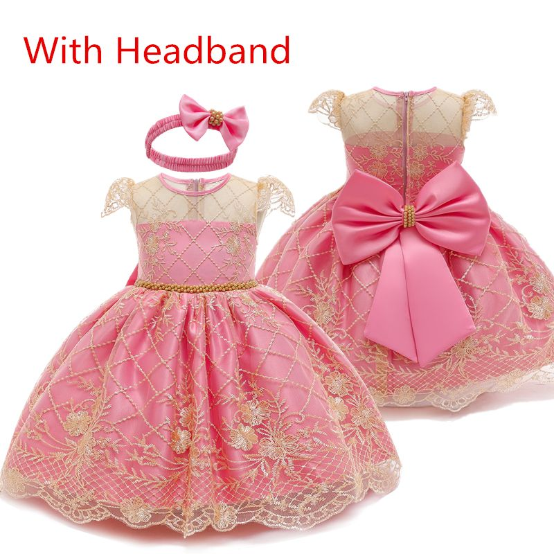 Baby Girl Dress Lace Bow Ball Gowns New Year Princess Dress Tutu Party Dress Toddler Girls Bi...