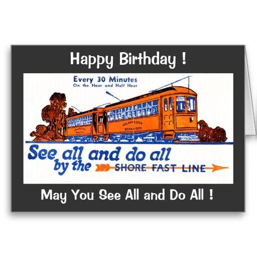 The Shore Fast Line Trolley Service Birthday Card Birthdays